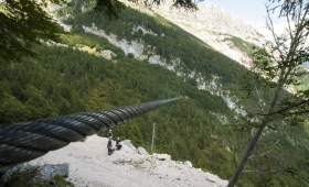 Riding the Zip Line in Bovec Slovenia
