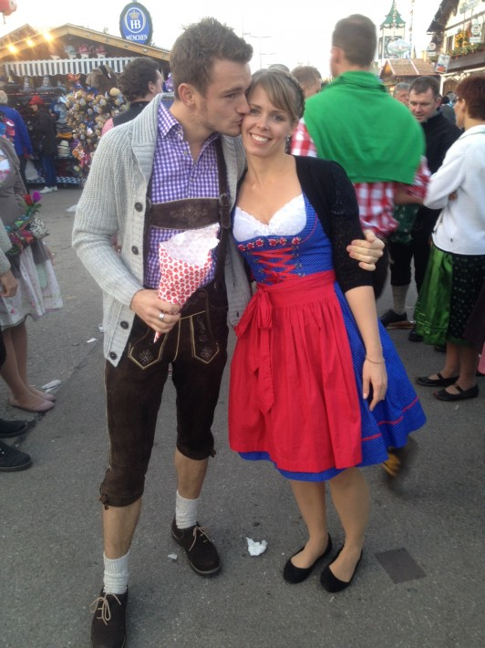 Oktoberfest dirndl and lederhosen